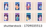 people stay in their apartments ...   Shutterstock .eps vector #1709035513