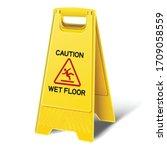 3d realistic vector caution wet ... | Shutterstock .eps vector #1709058559