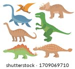 dinosaurs flat icon set ... | Shutterstock . vector #1709069710