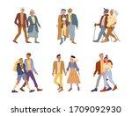 elderly people versus young... | Shutterstock .eps vector #1709092930