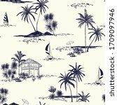Trendy Hand Drawn Island Vecto...