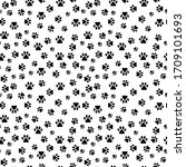 seamless pattern with dog paw... | Shutterstock .eps vector #1709101693