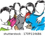 friends teenagers having fun...   Shutterstock .eps vector #1709114686