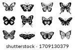 butterflies carve set  vector... | Shutterstock .eps vector #1709130379