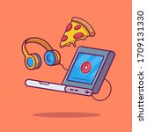 Laptop  Pizza And Headphones...