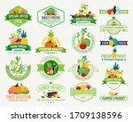 set of fruit and vegetables... | Shutterstock .eps vector #1709138596
