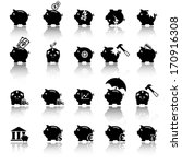 Piggy bank icons, banking and savings