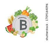 vitamin b. food sources.... | Shutterstock .eps vector #1709164096