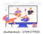 online concert of famous...   Shutterstock .eps vector #1709177920