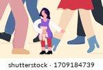 child girl in adults world... | Shutterstock .eps vector #1709184739