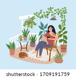 young woman relaxing in... | Shutterstock .eps vector #1709191759