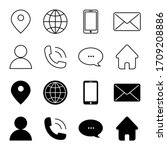 contact us vector line icons... | Shutterstock .eps vector #1709208886