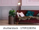 Maroon Sofa With Pillows  Lamp  ...