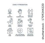prevention line icons set... | Shutterstock .eps vector #1709244220