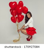 Sexy Brunette With Balloons...