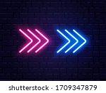 arrow neon on brick wall.... | Shutterstock .eps vector #1709347879