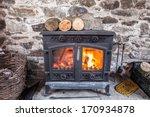 Cast Iron Wood Stove Burning...