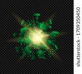 victory over coronavirus  green ... | Shutterstock .eps vector #1709350450