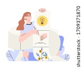 woman holds schematic plan of a ...
