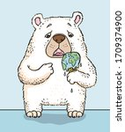 a polar bear holding a melting... | Shutterstock .eps vector #1709374900