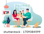 young couple stay home and...   Shutterstock .eps vector #1709384599