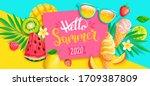 summer 2020 bright greeting... | Shutterstock .eps vector #1709387809