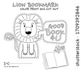 lion bookmark colorless for...   Shutterstock .eps vector #1709392846
