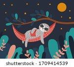 Cute Sloth Sleeps In A Hammock...