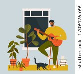 a young man playing guitar at... | Shutterstock .eps vector #1709426599