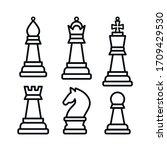 chess pieces. king queen rook... | Shutterstock .eps vector #1709429530