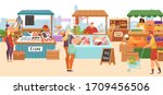 food market sale stalls  local... | Shutterstock .eps vector #1709456506