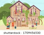 hotel bed and breakfast for...   Shutterstock .eps vector #1709456530
