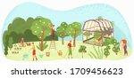 garden care people gardening ... | Shutterstock .eps vector #1709456623