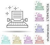 typewriter writing multi color...