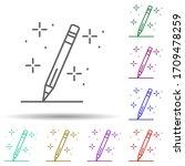 pencil writing multi color icon....