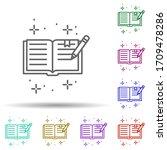 book pencil multi color icon....