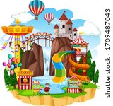 themepark scene with many rides ... | Shutterstock .eps vector #1709487043
