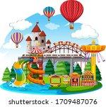 themepark scene with many rides ... | Shutterstock .eps vector #1709487076