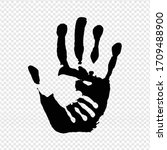 black hand print isolated... | Shutterstock . vector #1709488900