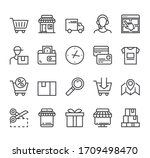 shopping commerce delivery line ... | Shutterstock .eps vector #1709498470