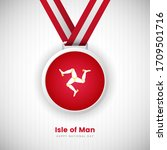 Abstract Isle of Man country flag on medal vector. Happy national day of Isle of Man background with classic typography.