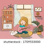 cute happy girl plays guitar on ... | Shutterstock .eps vector #1709533000
