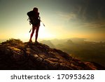 young lady hiker standing with... | Shutterstock . vector #170953628