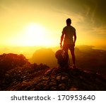 hiker standing with backpack on ... | Shutterstock . vector #170953640