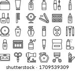 cosmetic black line icon set | Shutterstock .eps vector #1709539309