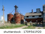 Old Wooden Shed And Grain Bin