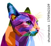 colorful cat isolated on white... | Shutterstock .eps vector #1709562109