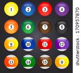 colored pool balls. numbers 1... | Shutterstock .eps vector #170957870