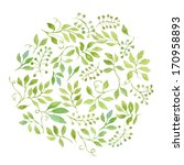 Stock photo elegant floral background with green leaves and branches painted with watercolor 170958893