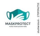 mask protect vector logo... | Shutterstock .eps vector #1709596753